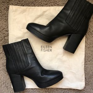 Eileen Fisher Black Leather Boots